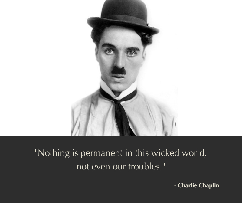 b&w portrait,Charlie Chaplin,quote