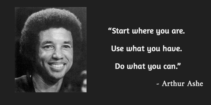 b&w portrait,Arthur Ashe,quote