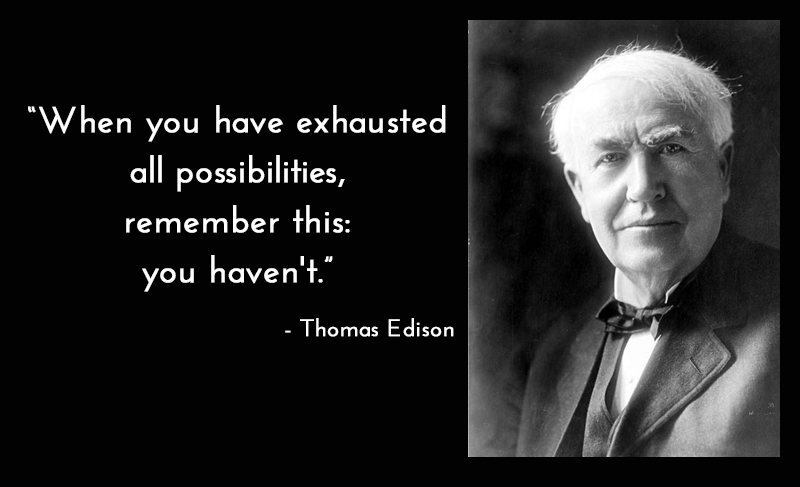 b&w portrait,Thomas Edison,quote