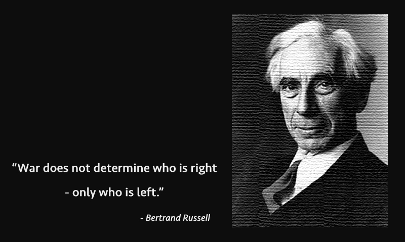 b&w portrait,Bertrand Russell,quote