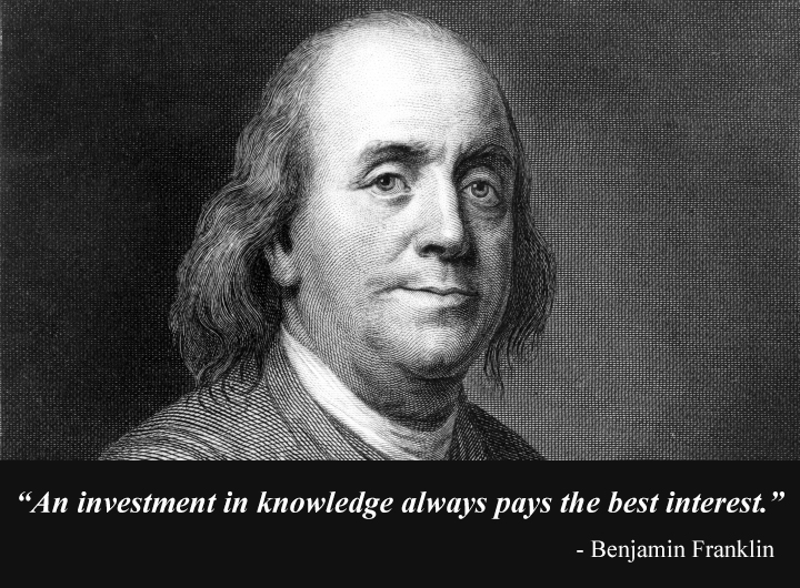 b&w portrait,Benjamin Franklin,quote