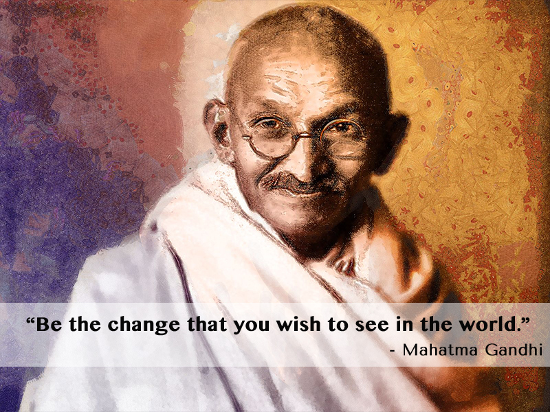 portrait painting,Mahatma Gandhi,quote