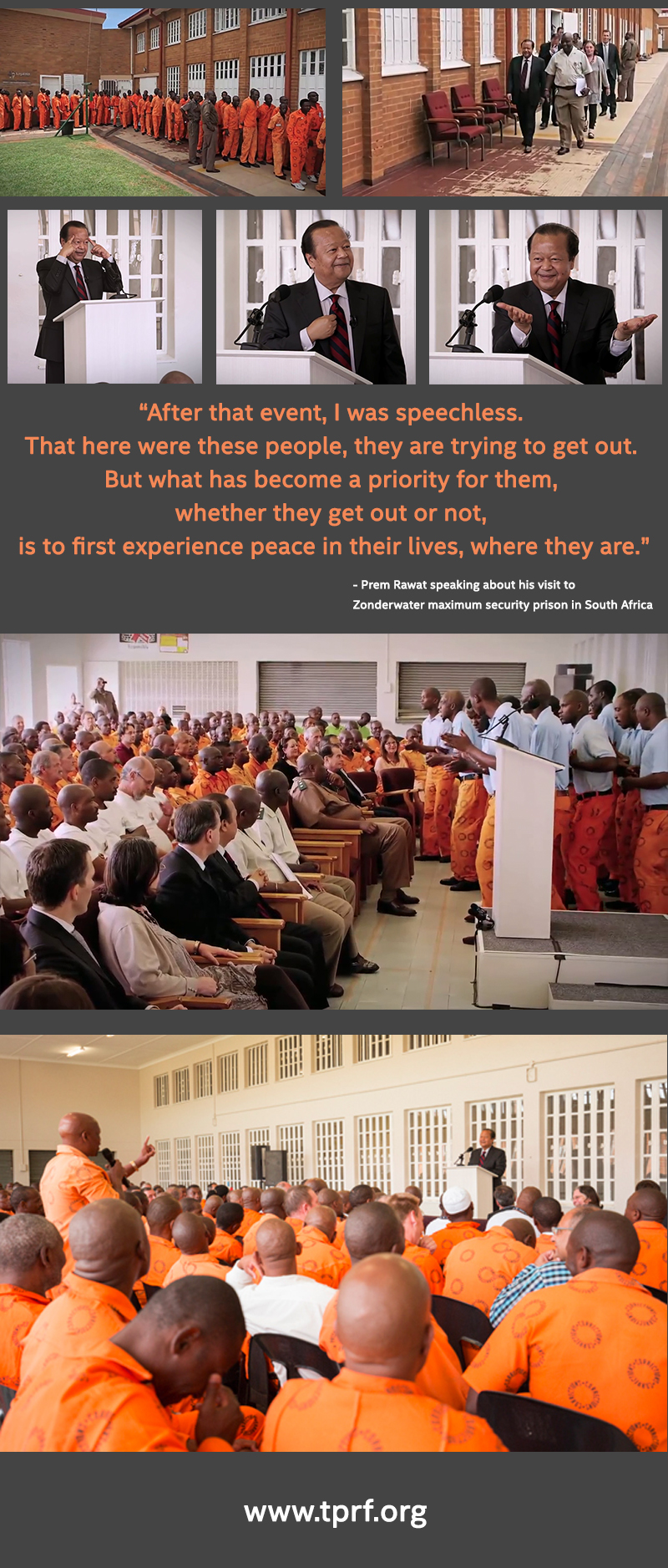 Prem Rawat speaking about his visit to  Zonderwater maximum security prison in South Africa,quote