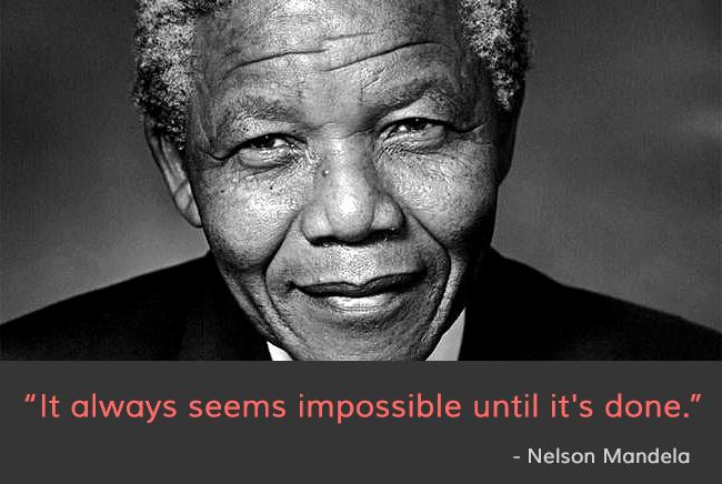b&w portrait,Nelson Mandela,quote