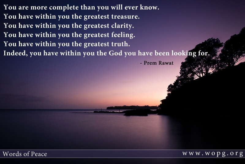 serene lake,evening,Prem Rawat,quote