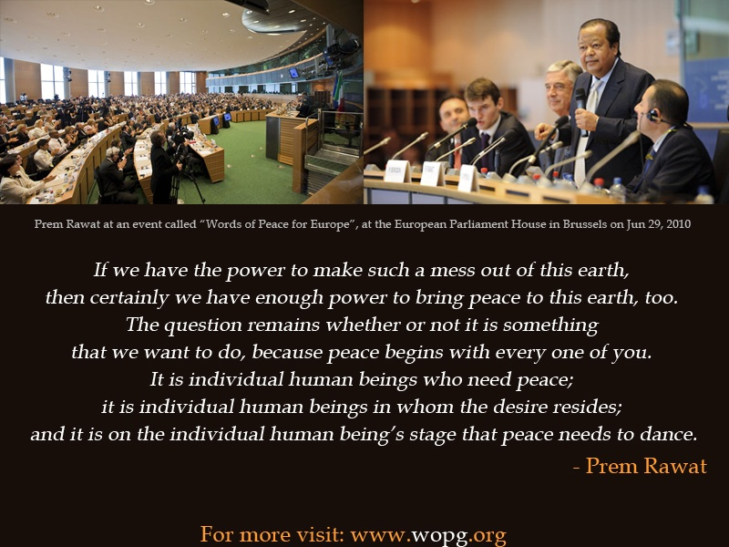 brussels,parliament,Prem Rawat,quote