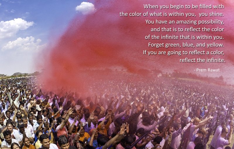 holi,pink,color,crowd,Prem Rawat,quote
