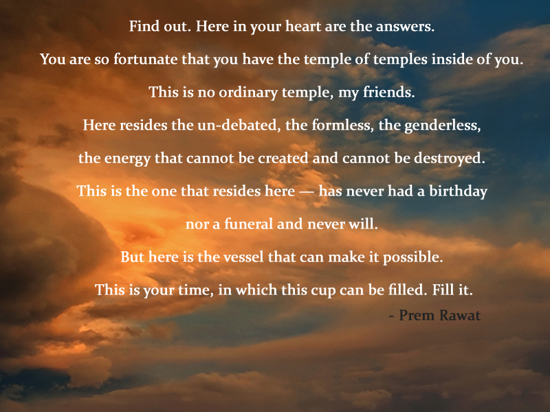 orange clouds,Prem Rawat,quote