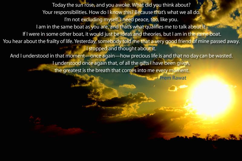 sun,evening,sunset,Prem Rawat,quote