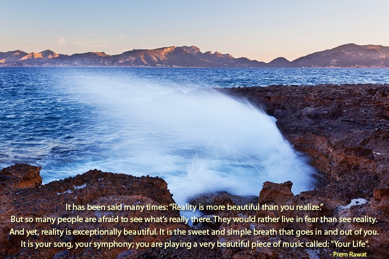 shore,wave hitting rock,Prem Rawat,quote