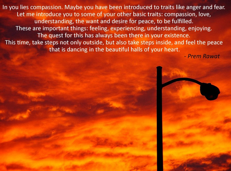 evening sky, street lamp,Prem Rawat,quote