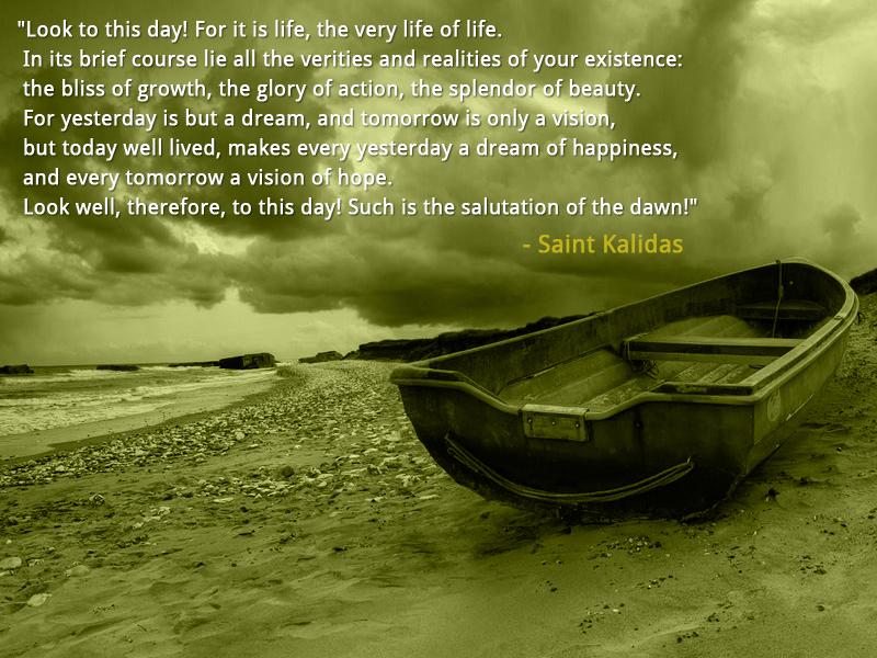 boat,dramatic sky,Saint Kalidas,quote