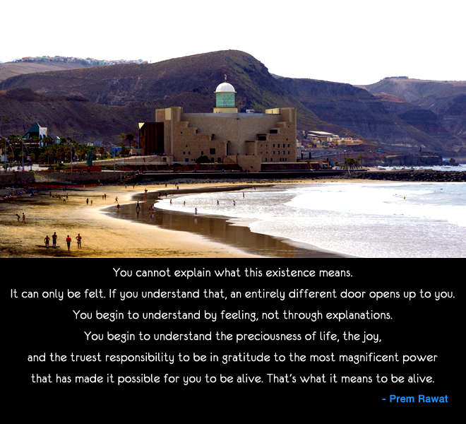 sea beach,fort,Prem Rawat,quote