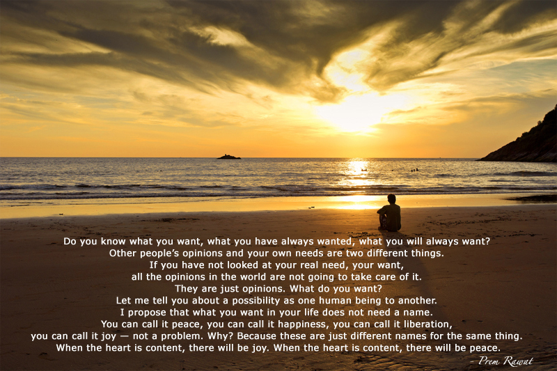sunset beach,Prem Rawat,quote