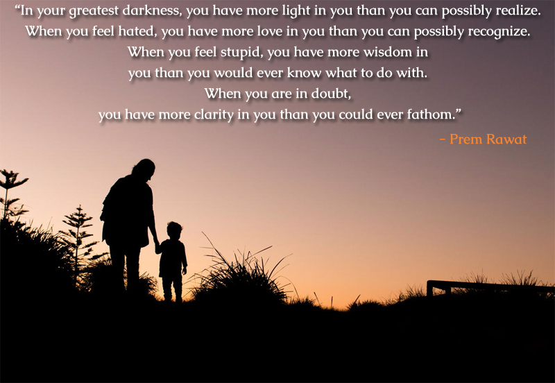 silhouette,parent,Prem Rawat,quote