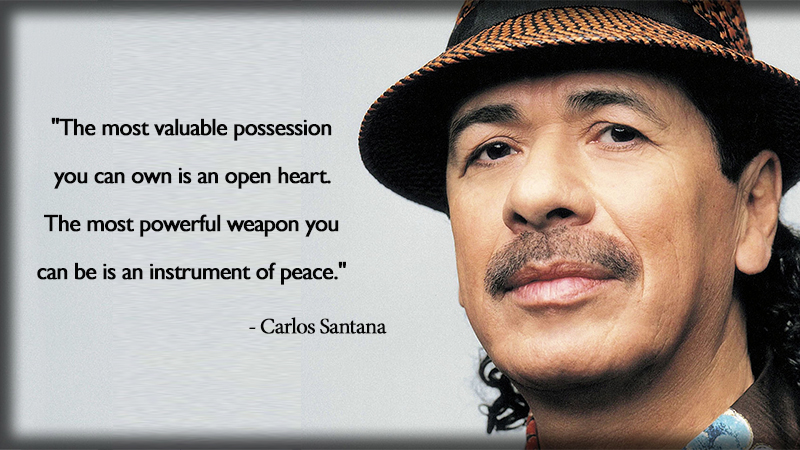 portrait,hat,Carlos Santana,quote
