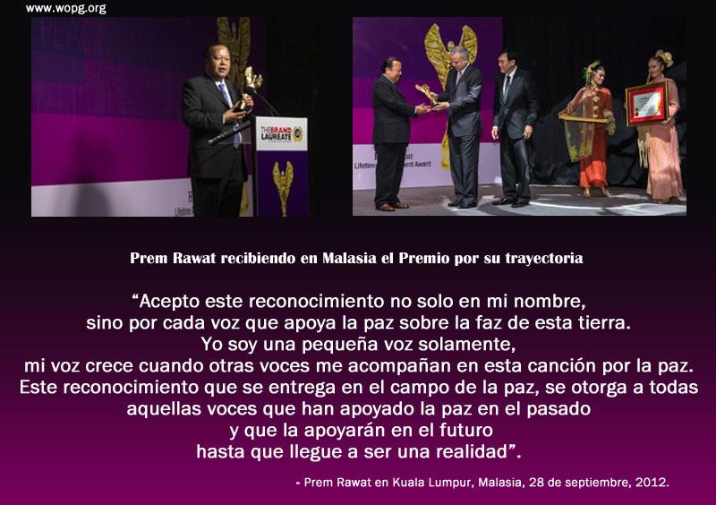 Prem Rawat recibiendo en Malasia el Premio por su trayectoria.,quote