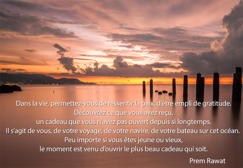 coucher de soleil sur lac,Prem Rawat,quote