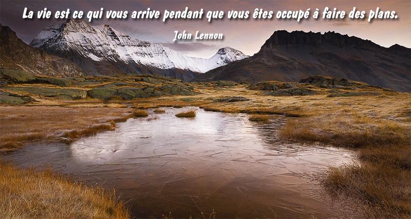 lac, montagnes,John Lennon,quote